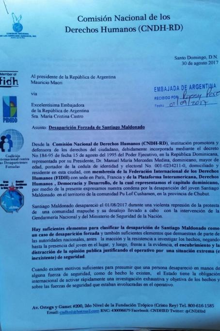 carta argentina santiago maldonado